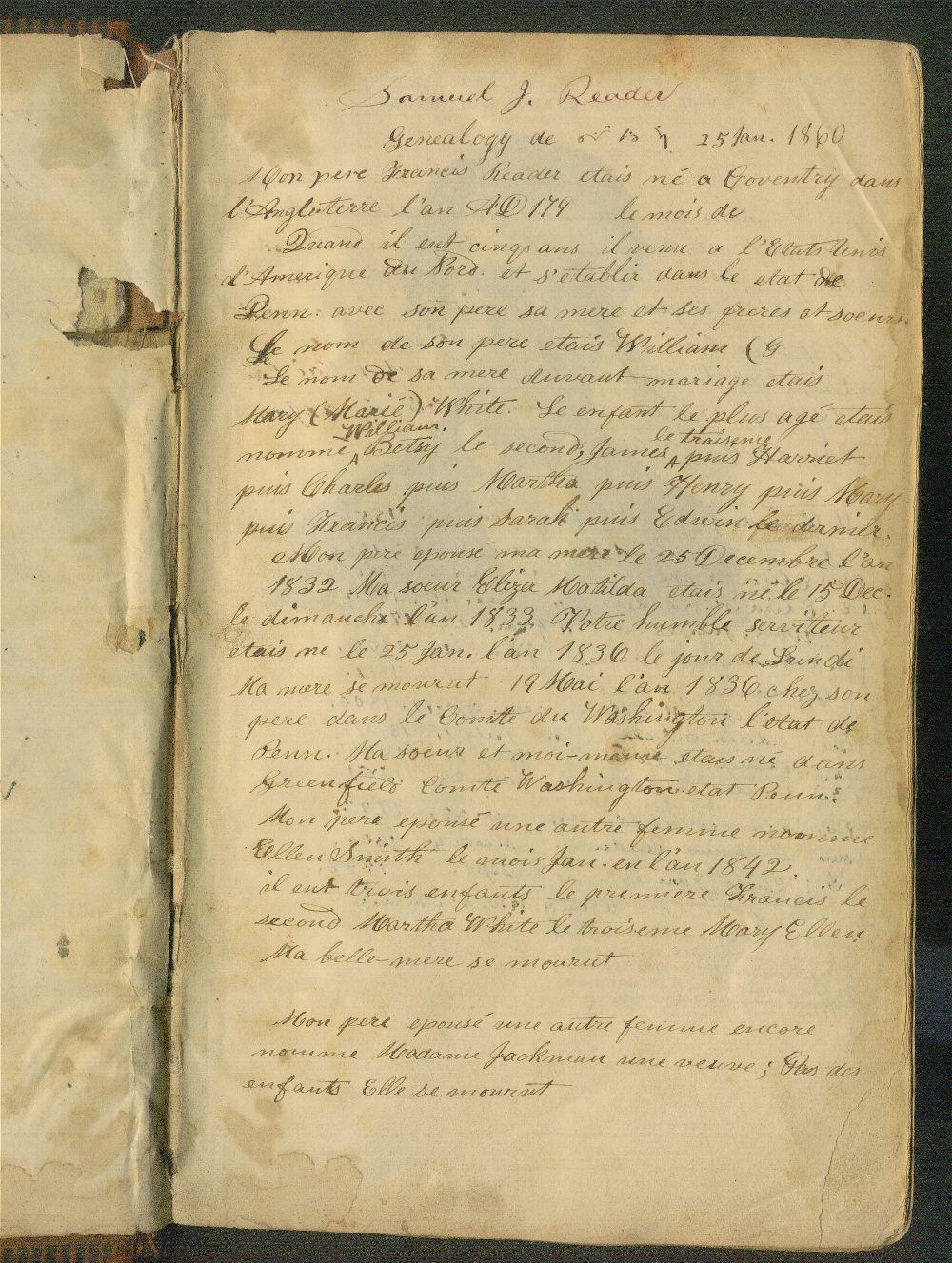 Samuel Reader's diary, volume 5 - Genealogy
