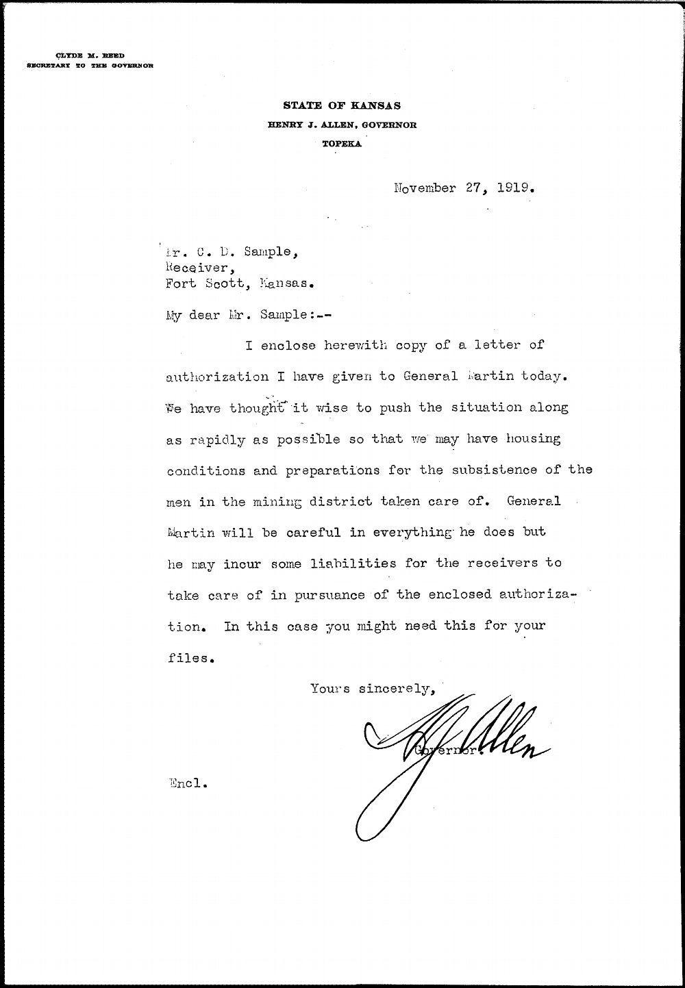 Governor Henry Allen to C. D. Sample
