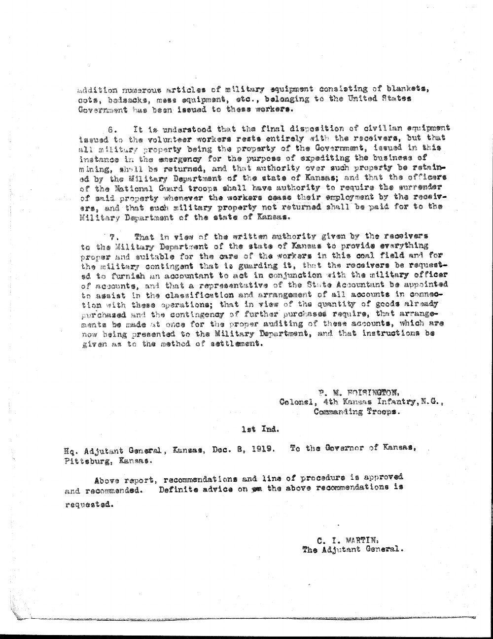 Colonel P. M. Hoisington to the Adjutant General of Kansas - 2