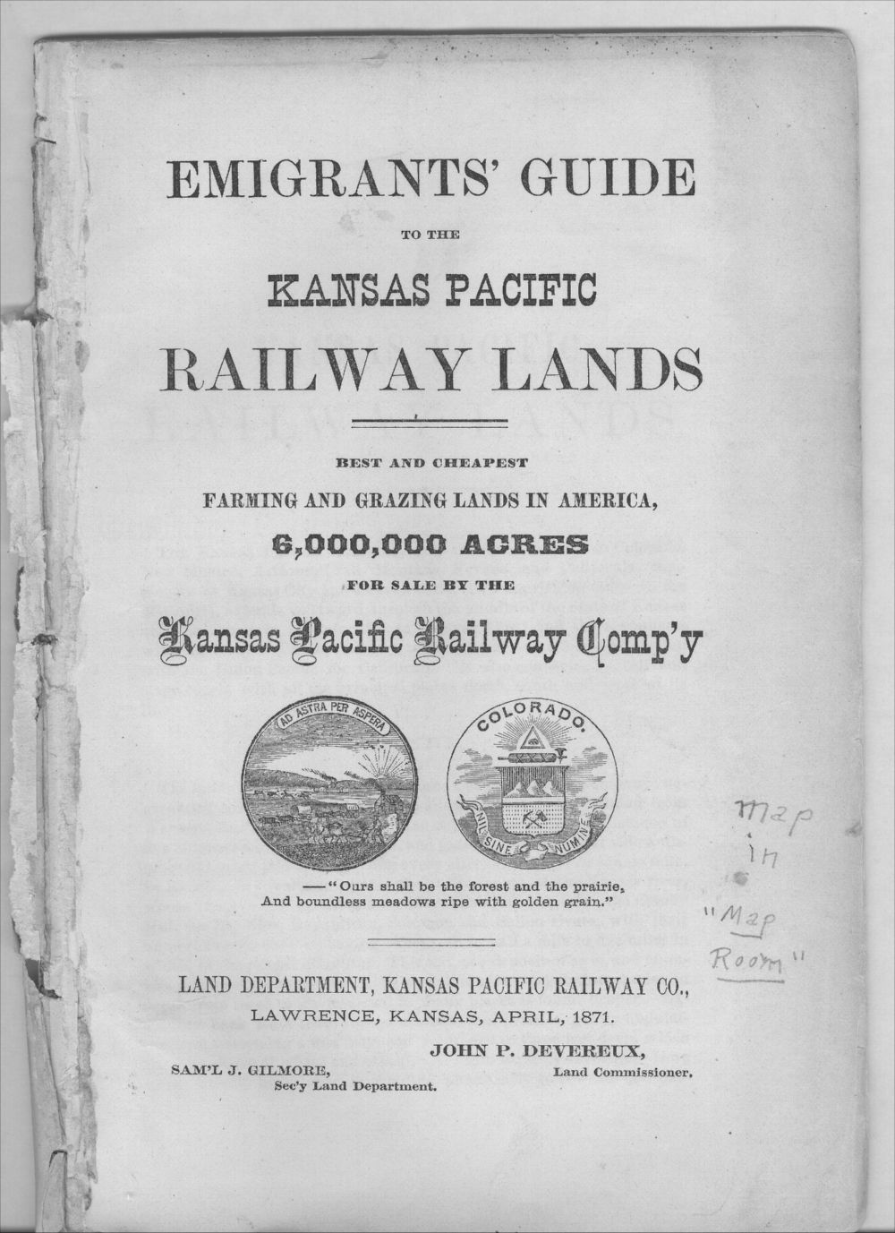 Emigrants' guide to the Kansas Pacific Railway lands - Title Page