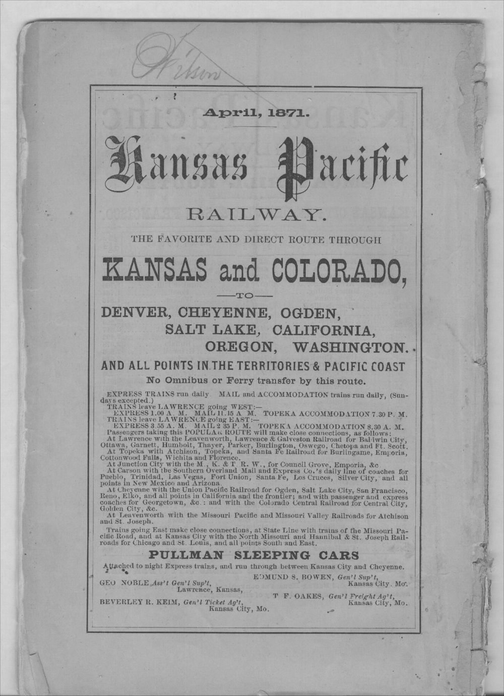 Emigrants' guide to the Kansas Pacific Railway lands - Back Cover