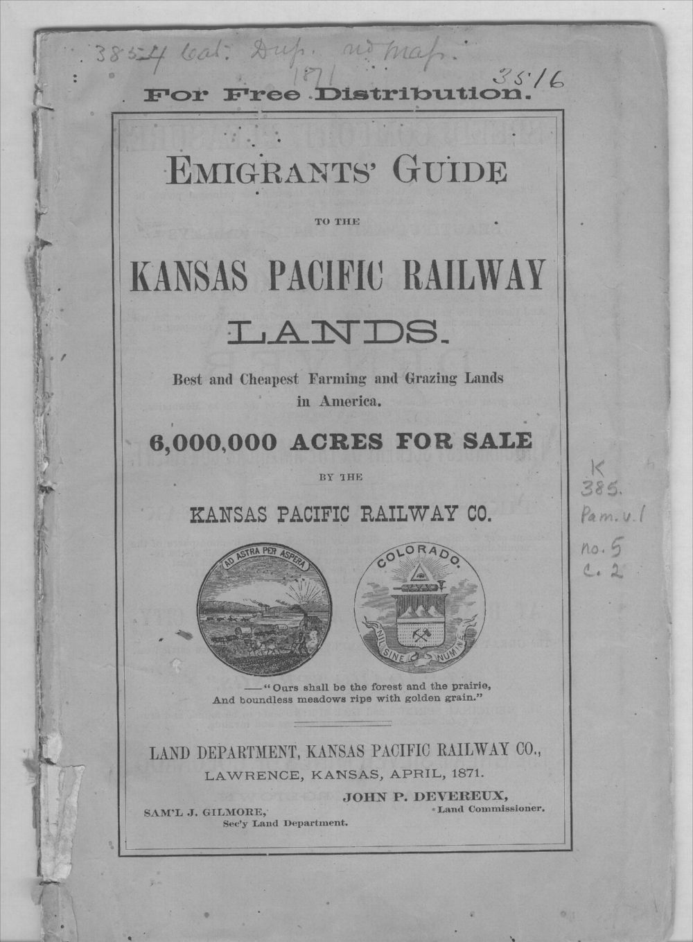 Emigrants' guide to the Kansas Pacific Railway lands - Front Cover