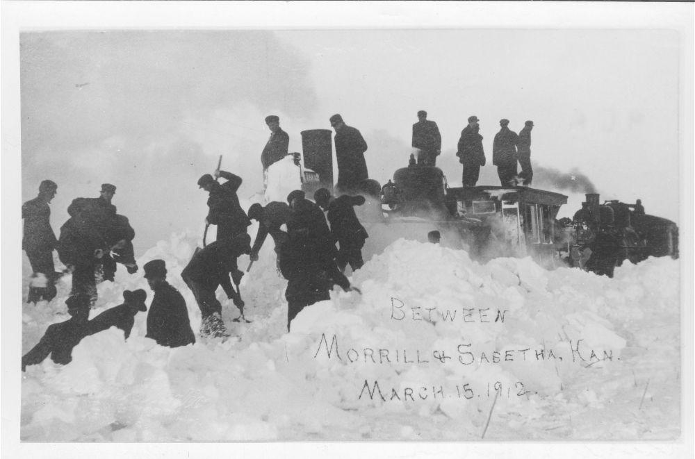 Locomotive plowing through a snow storm between Morrill and Sabetha, Kansas