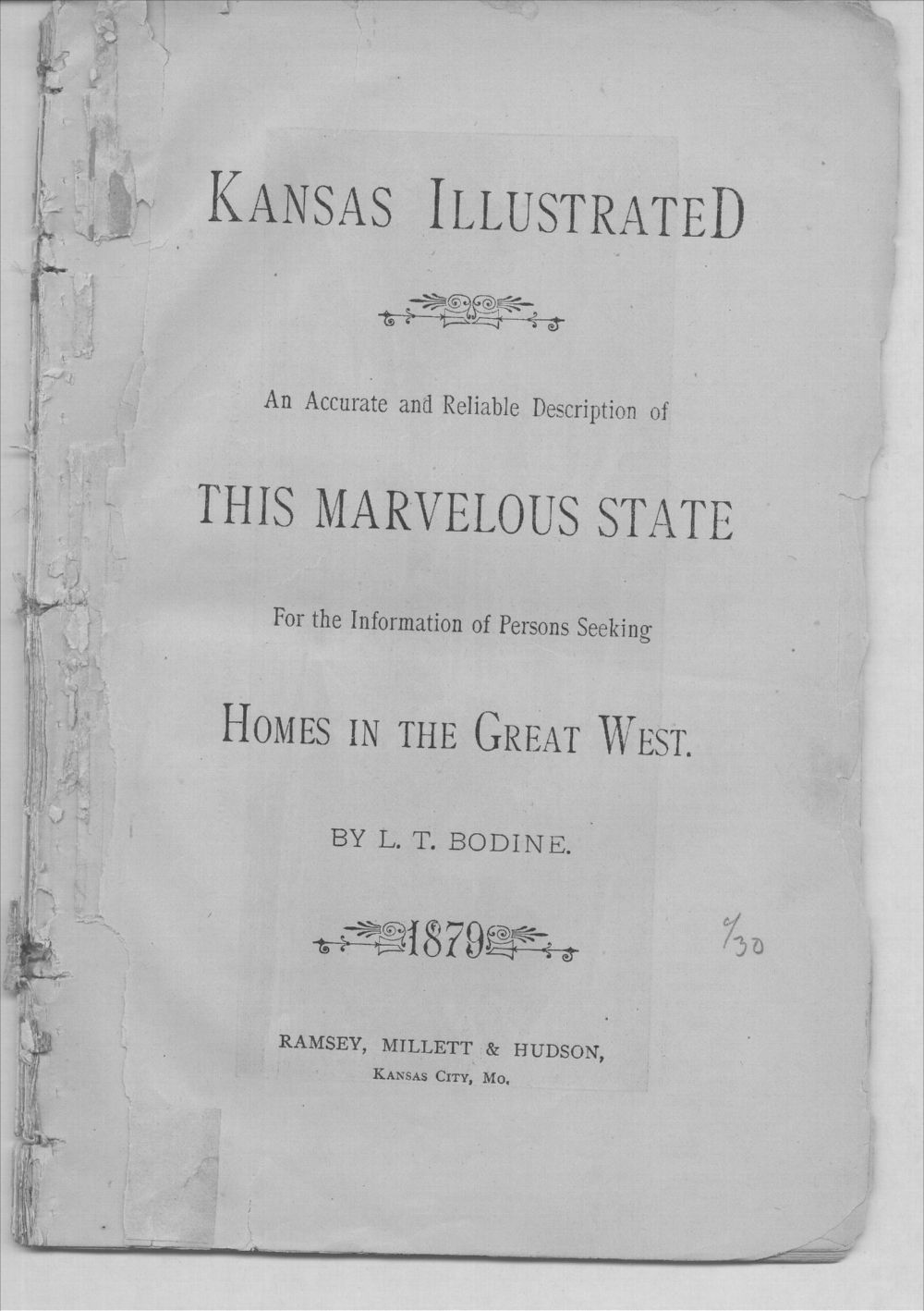 Kansas illustrated.   An accurate and reliable description of this marvelous state for the information of persons seeking homes in the great west - Title Page