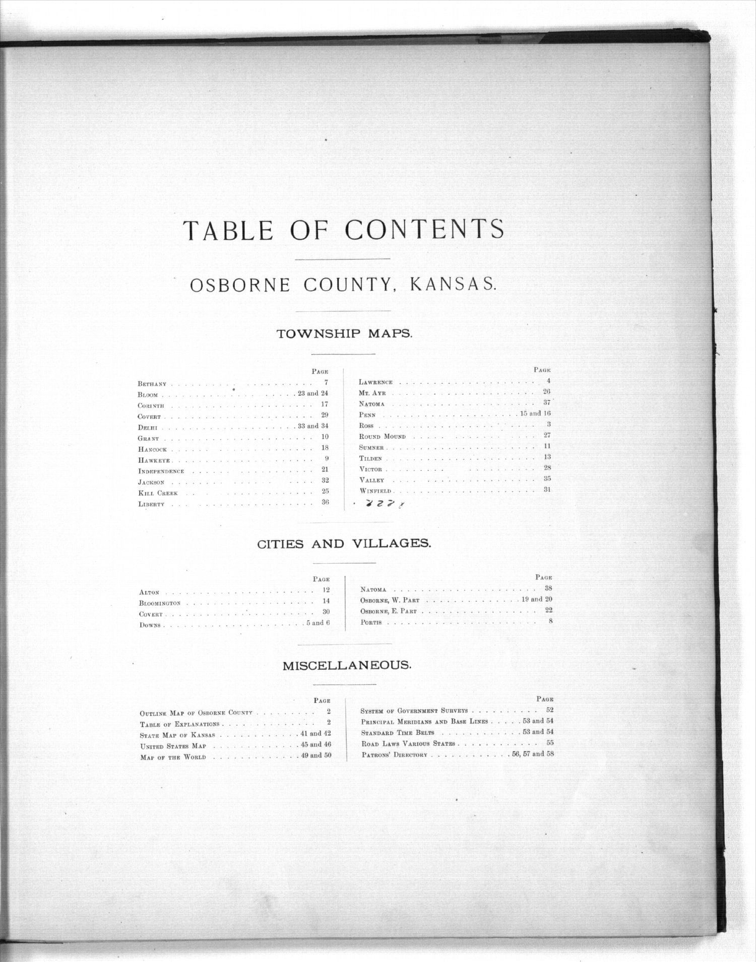 Plat book of Osborne County, Kansas - Table of Contents