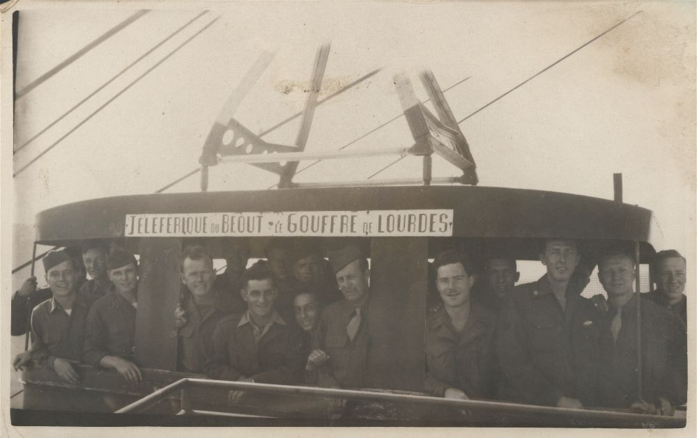 Soldiers on a gondola during World War II