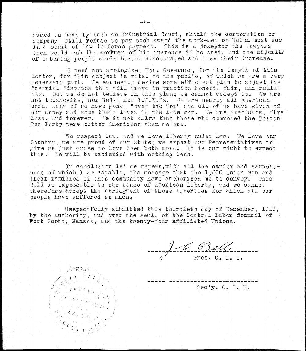 J.C. Bell to Governor Henry Allen - 2