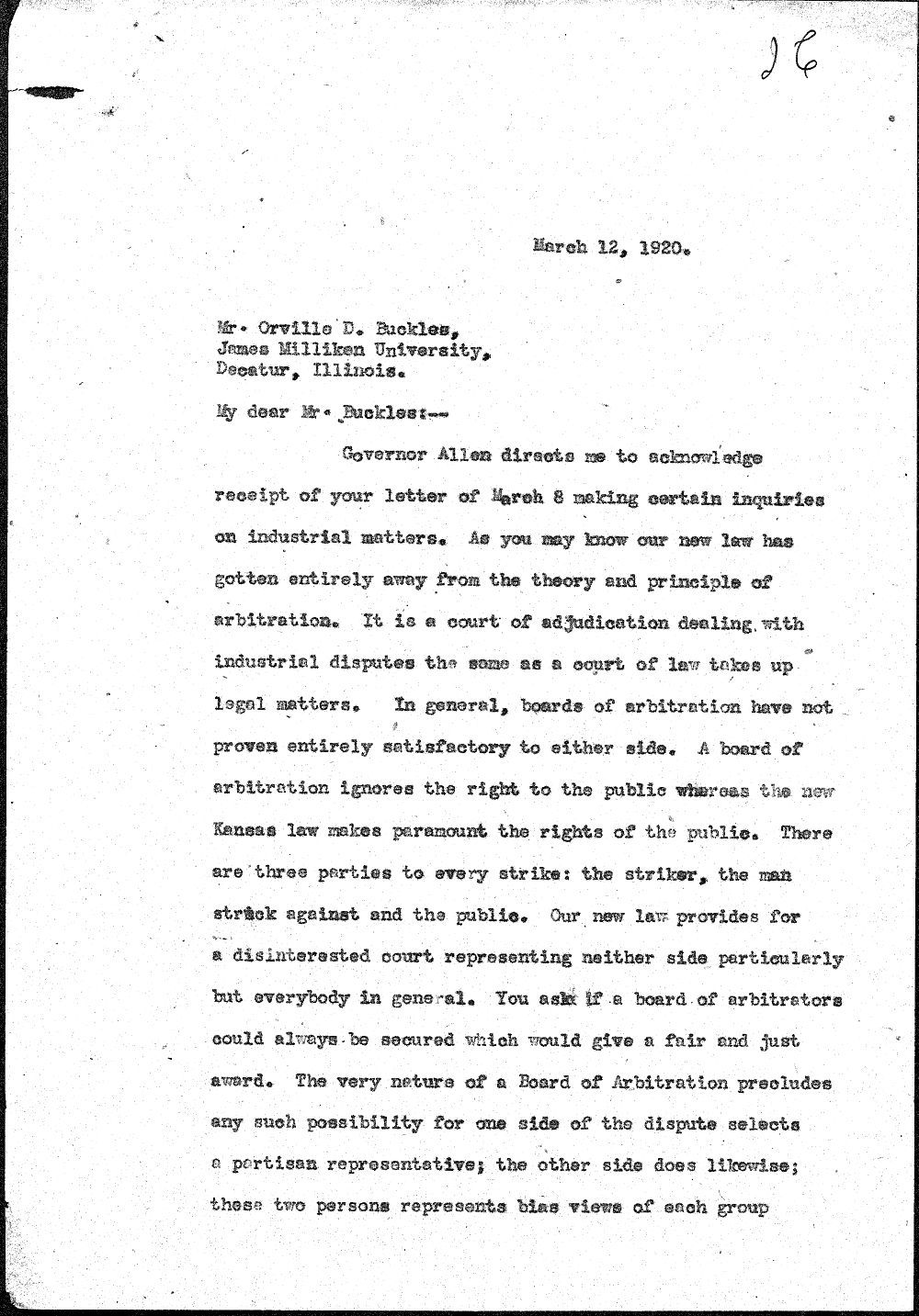 Secretary to Governor Henry Allen to Orville Buckles - 1