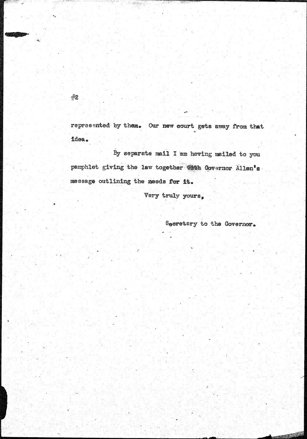 Secretary to Governor Henry Allen to Orville Buckles - 2