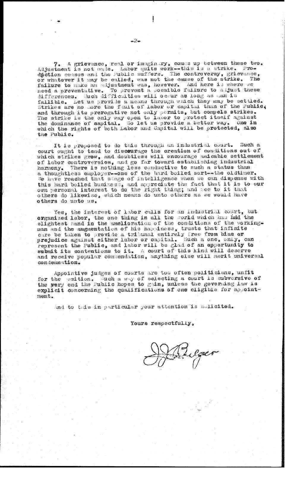 J. J. Bulger to O. W. Sparks - 2