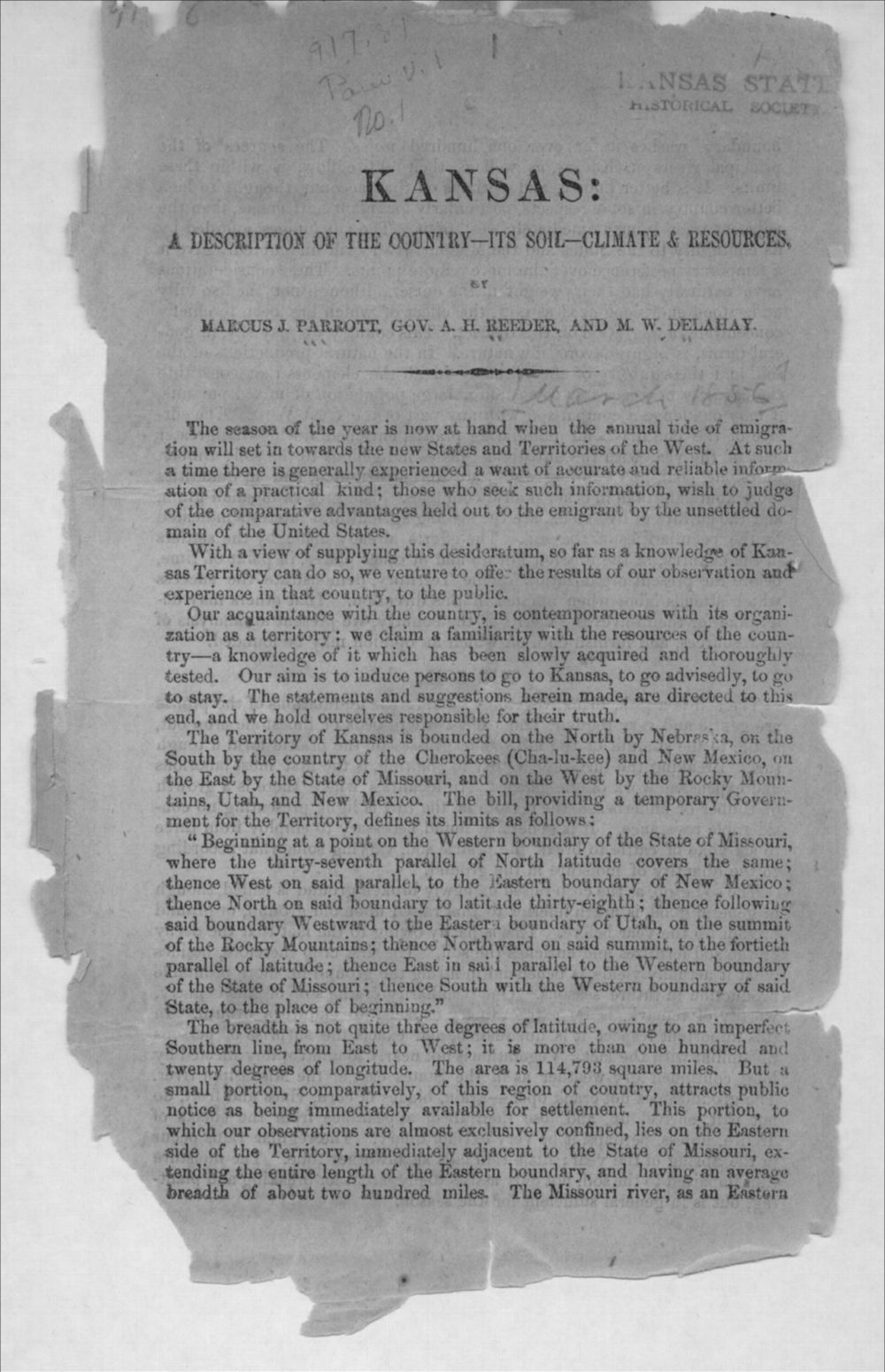 Kansas: a description of the country, its soil, climate & resources - 1