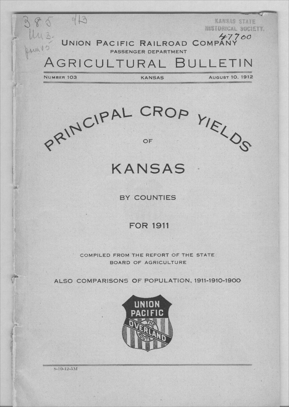 Principal crop yields of Kansas by counties for 1911 - Front Cover