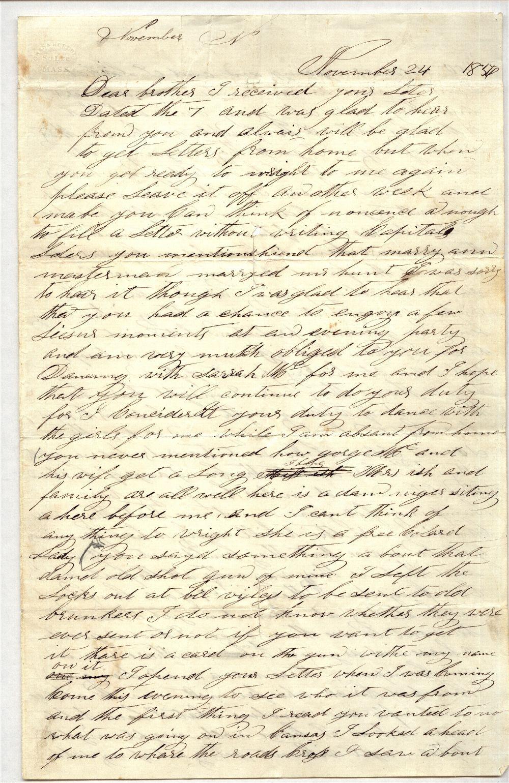 James Butler [Wild Bill] Hickok to Horace D. Hickok - 1