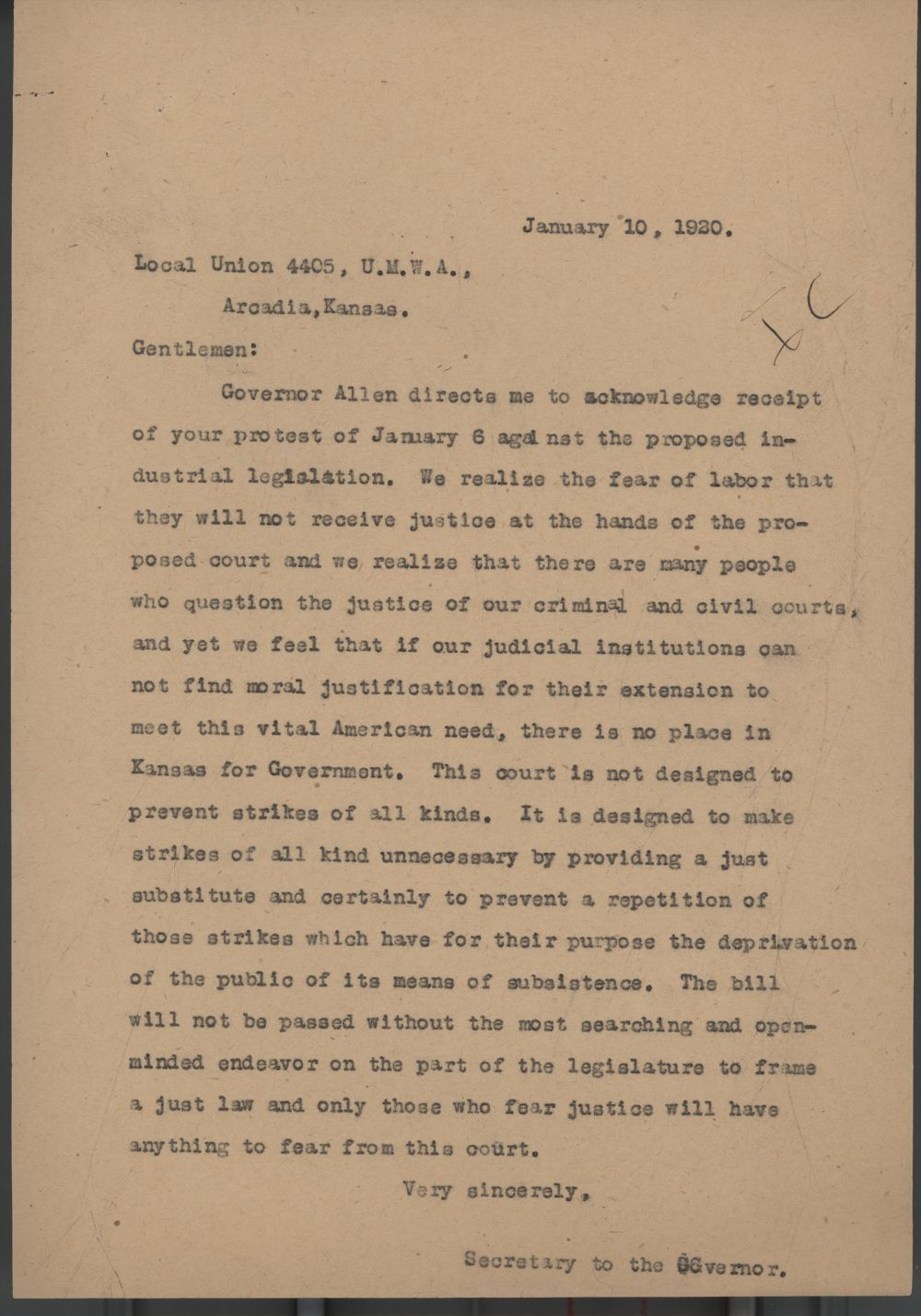 Secretary to Governor Henry J. Allen to Local Union 4405, United Mine Workers Association