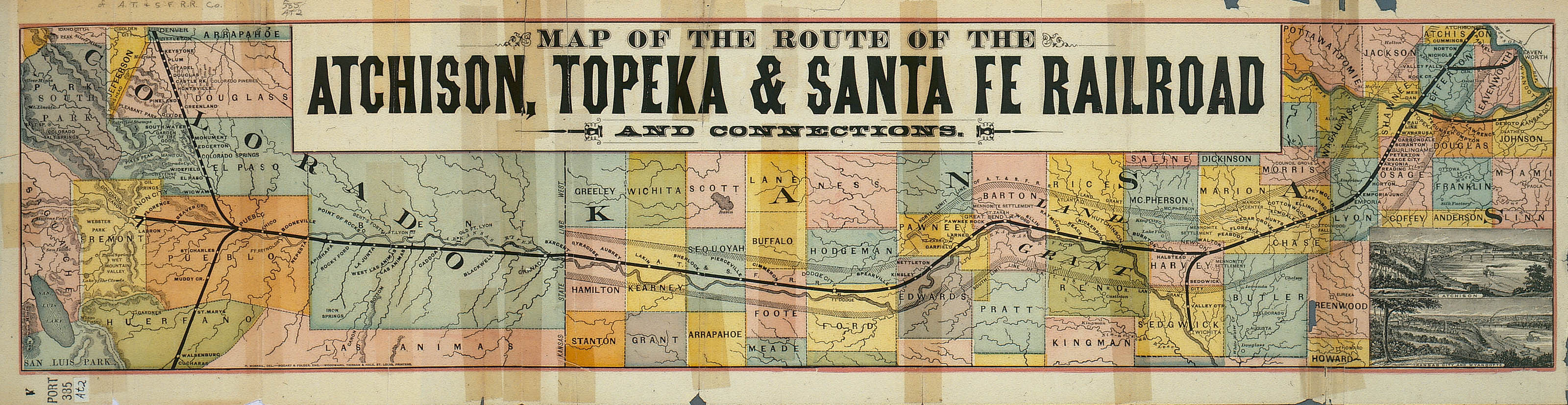 Map of the Atchison, Topeka & Santa Fe Railroad and connections