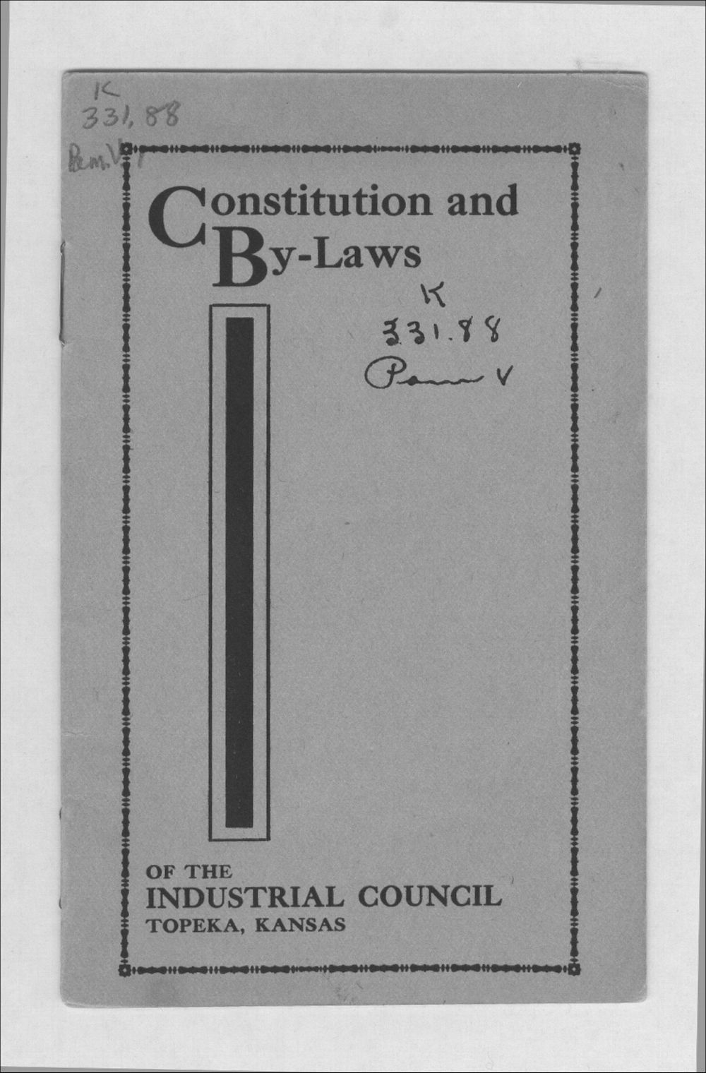 Constitution and by-laws of the Industrial Council - 1