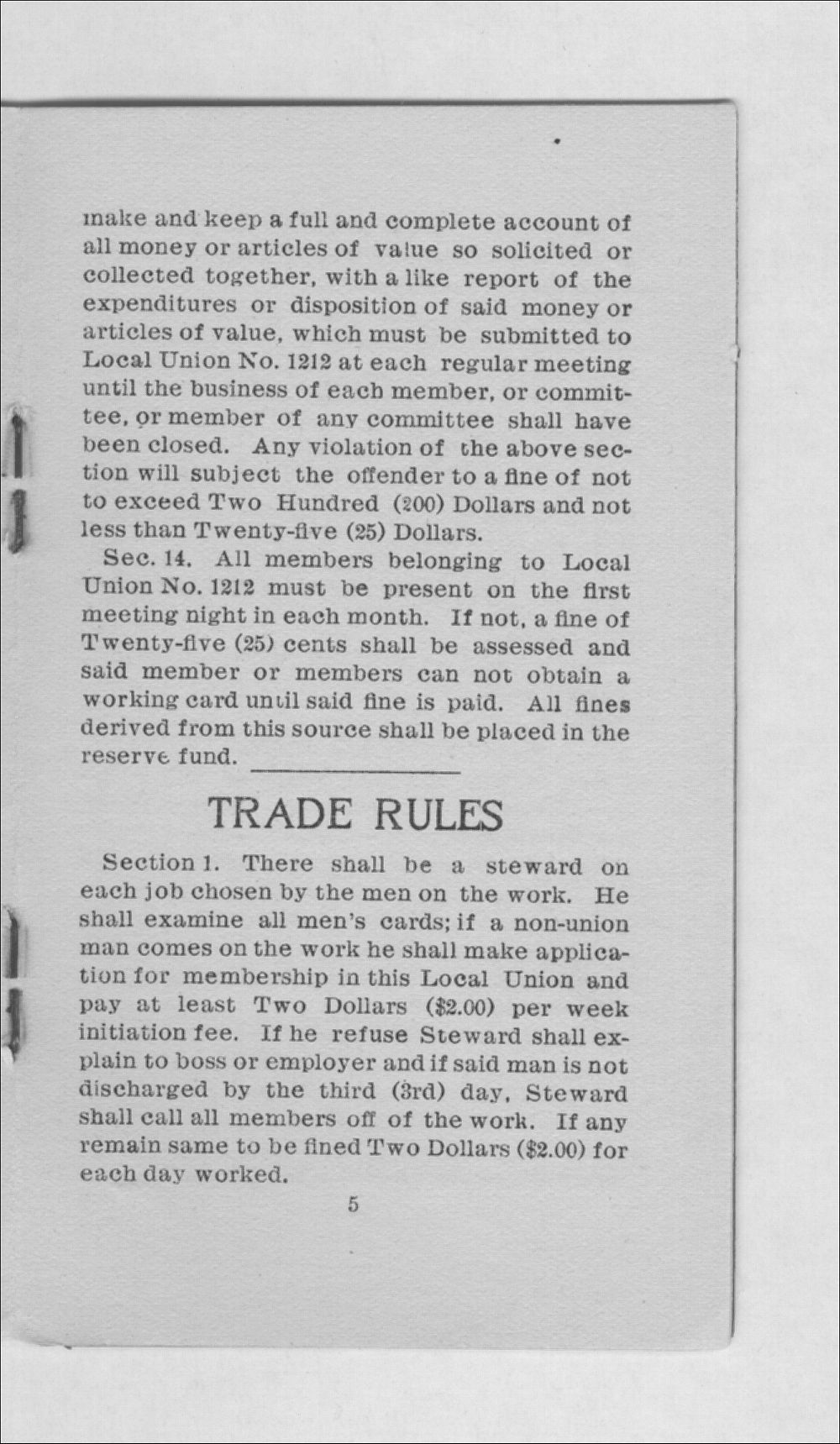 By-laws and trade rules of Carpenter's Union No. 1212 - 5