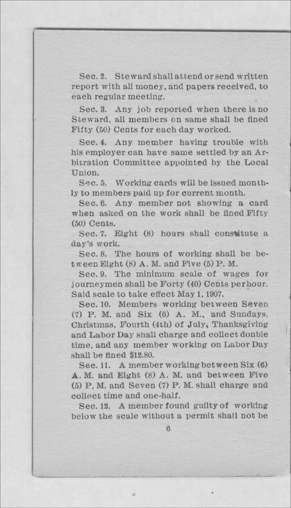 By-laws and trade rules of Carpenter's Union No. 1212 - 6