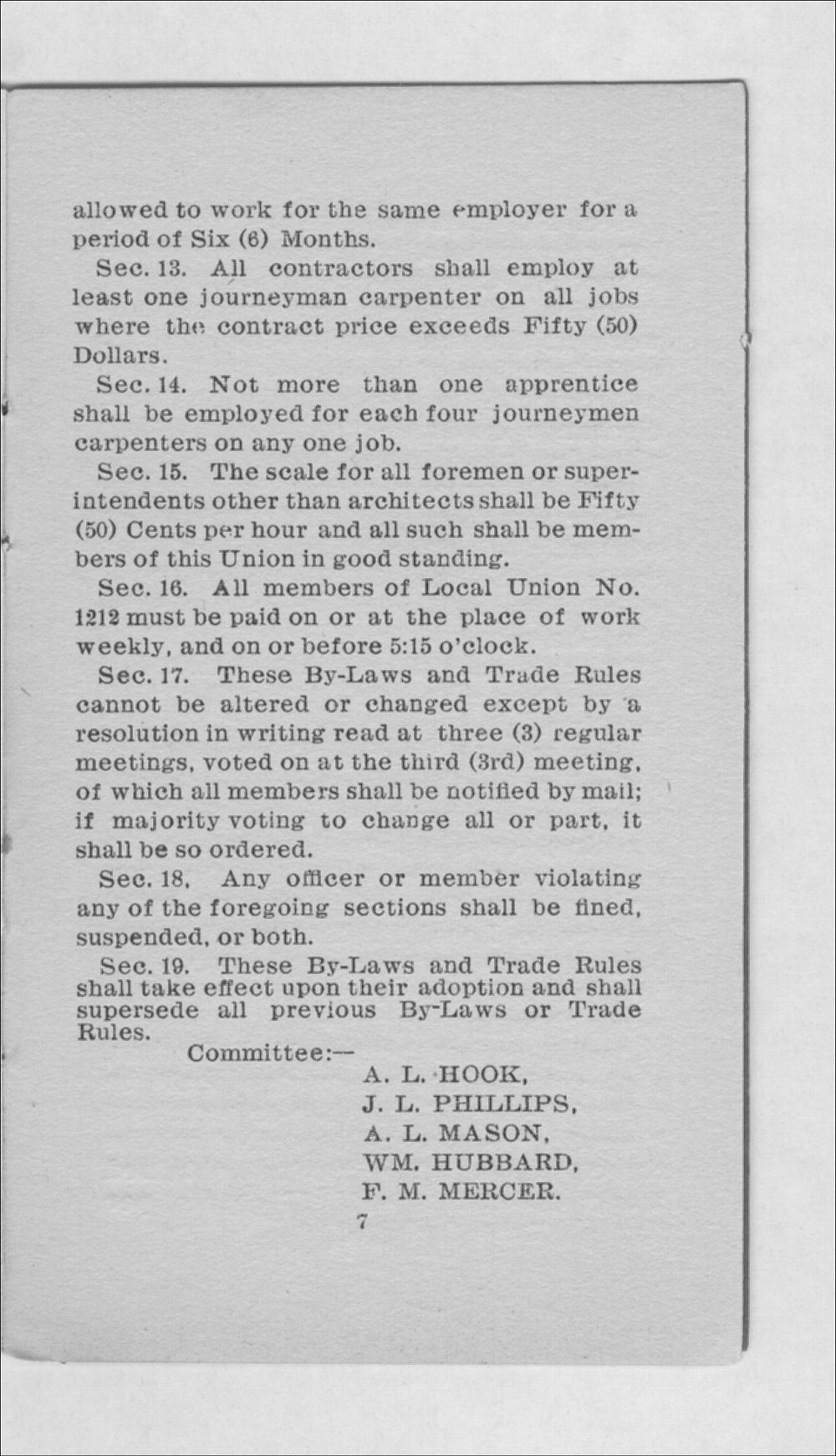 By-laws and trade rules of Carpenter's Union No. 1212 - 7