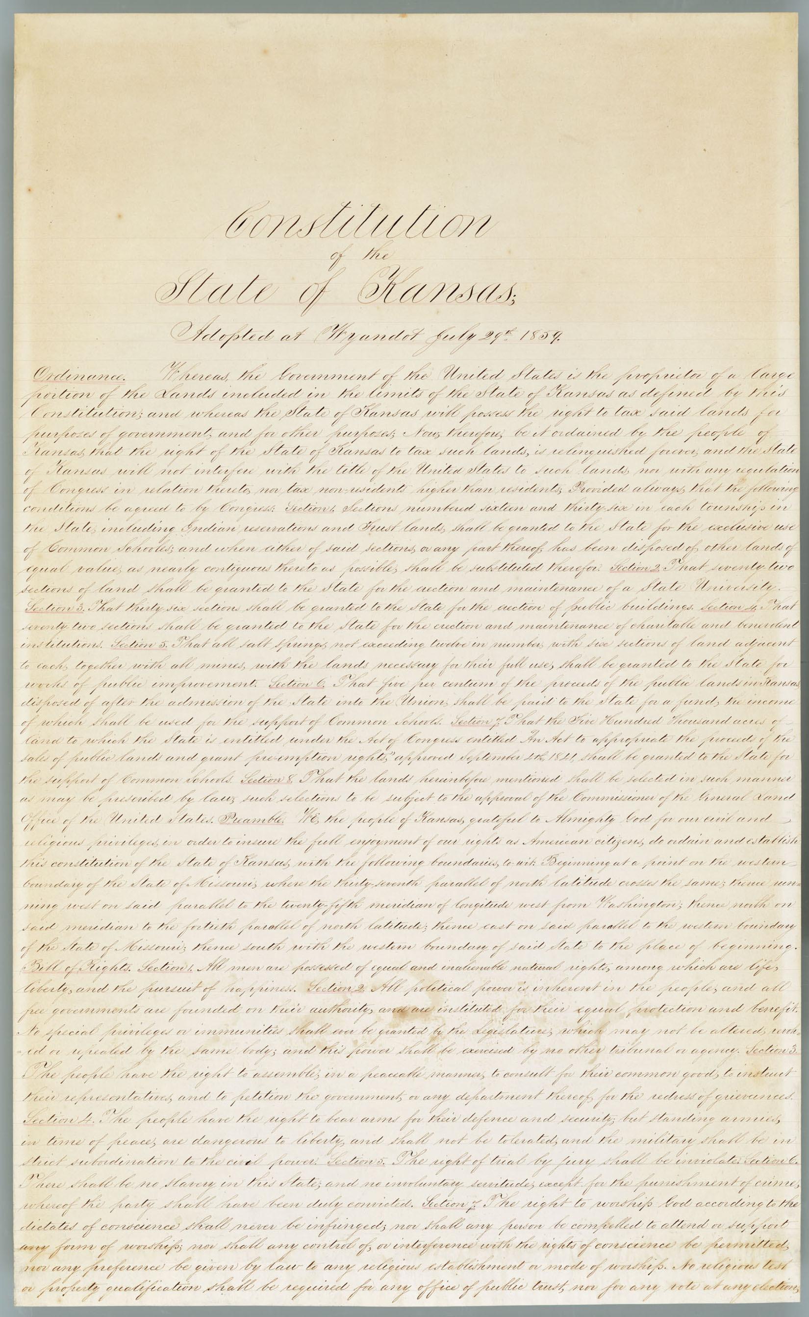 Wyandotte Constitution - 1