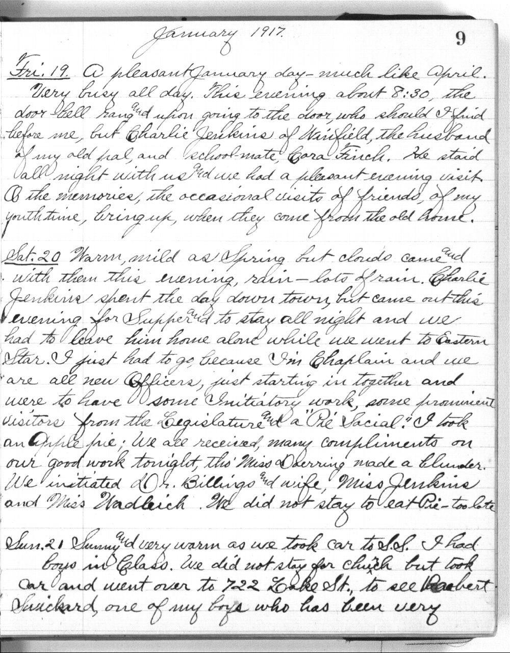 Martha Farnsworth diary - 9