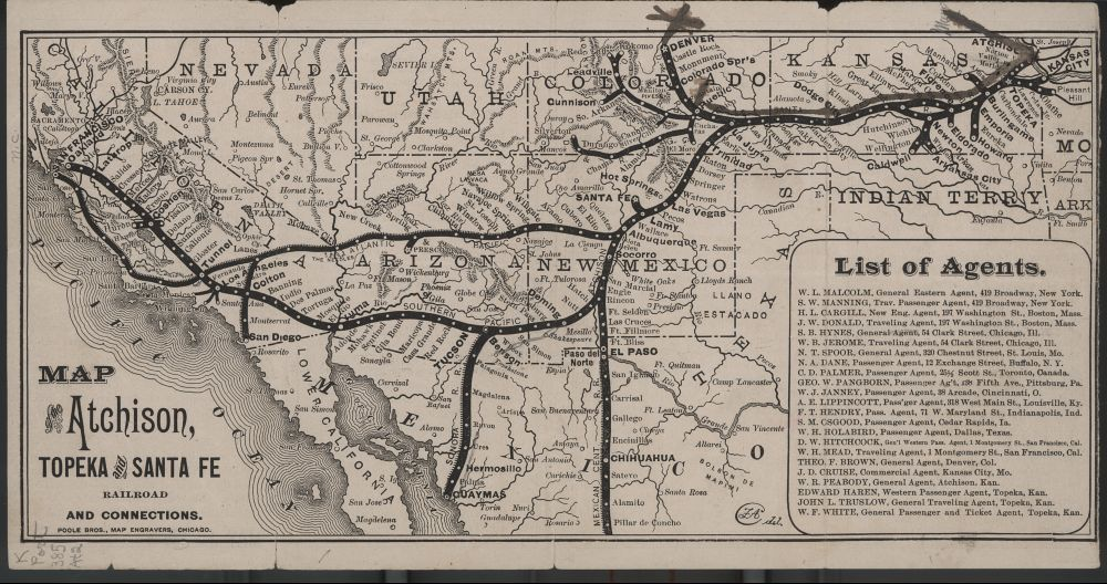 Map Of The Atchison Topeka And Santa Fe Railroad And Its