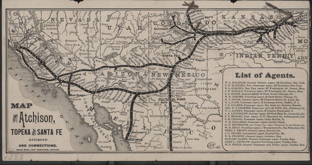 Atchinson Topeka And Santa Ferailroad On The Us Map - Us map santa fe