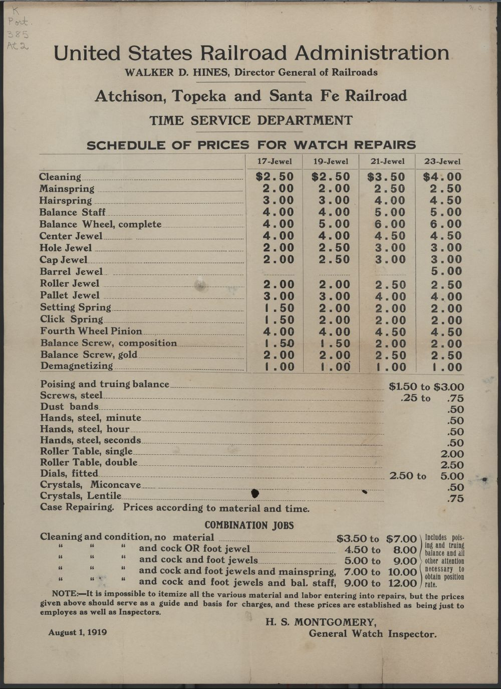 Atchison, Topeka and Santa Fe railroad schedule of prices for watch repairs