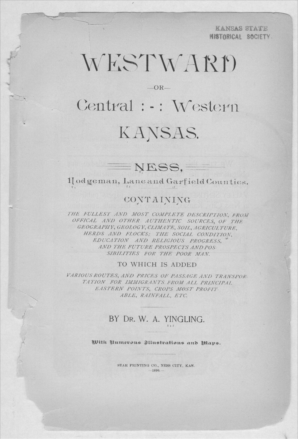 Westward or central western Kansas - Title Page