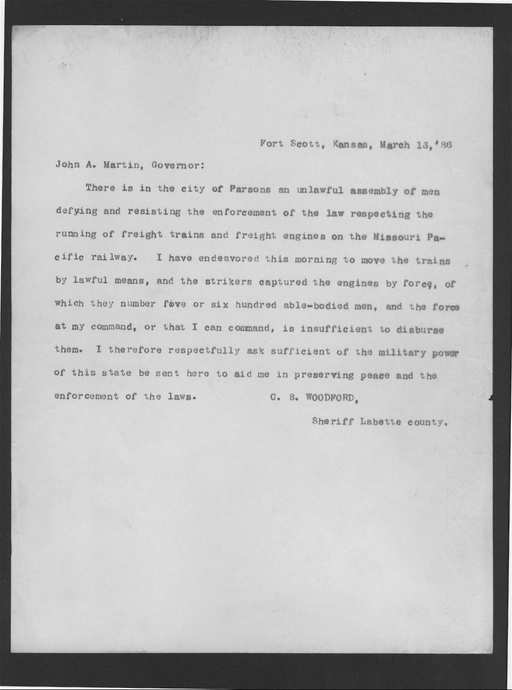 C. B. Woodward to Governor John Martin