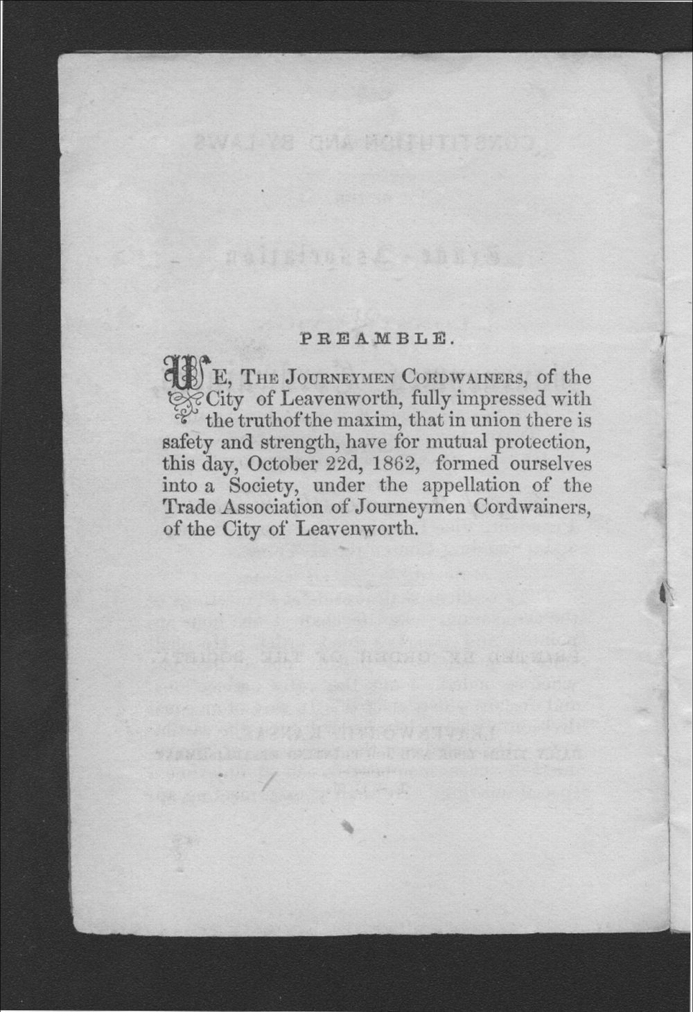 Constitution and By-Laws of the Trade Association of Journeymen Cordwainers, of the City of Leavenworth, Kansas - Preamble