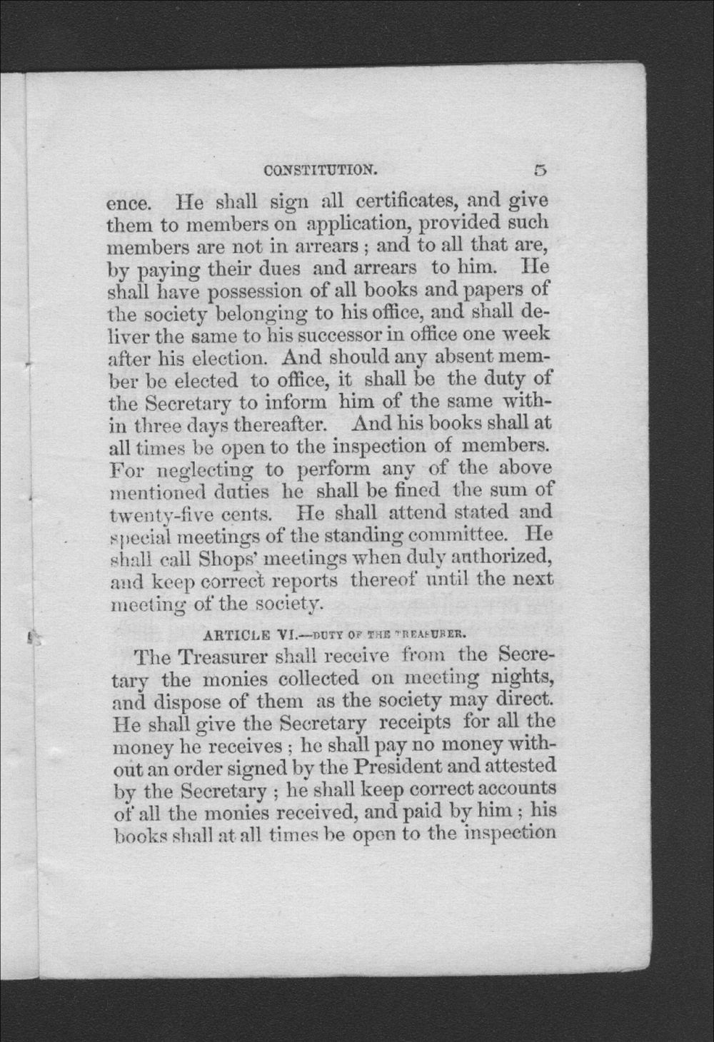 Constitution and By-Laws of the Trade Association of Journeymen Cordwainers, of the City of Leavenworth, Kansas - 5
