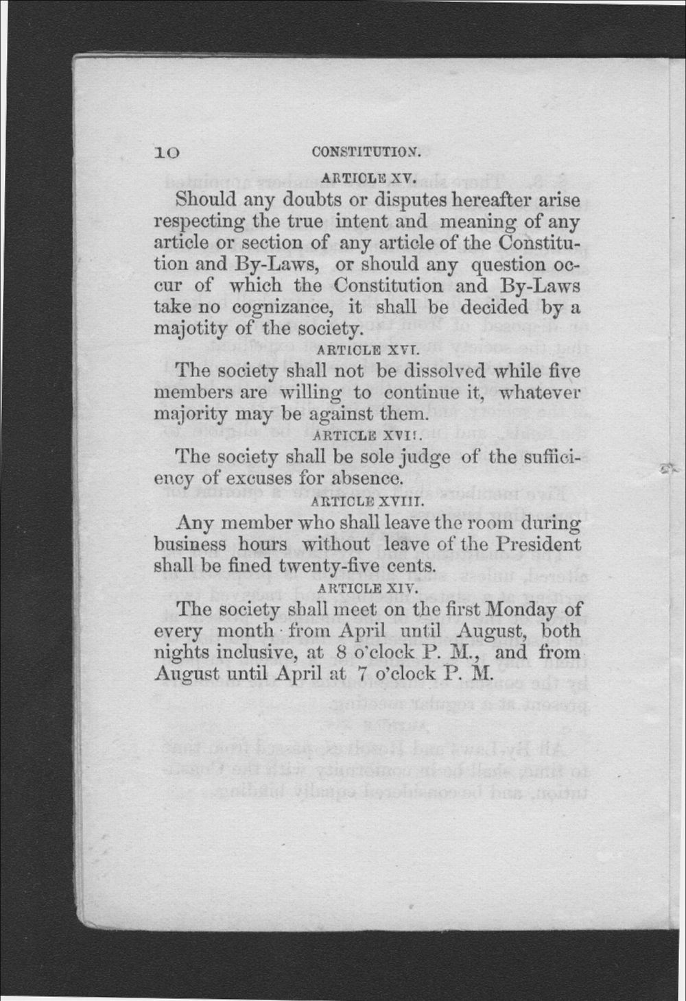 Constitution and By-Laws of the Trade Association of Journeymen Cordwainers, of the City of Leavenworth, Kansas - 10