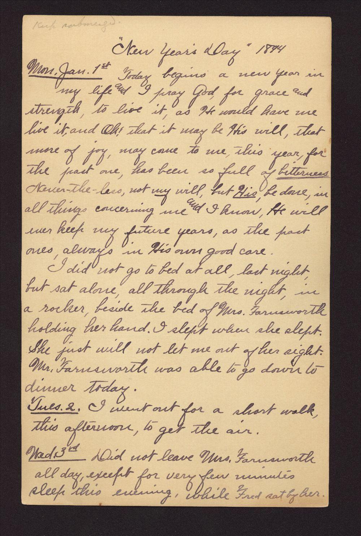 Martha Farnsworth diary - Jan 1, 1894