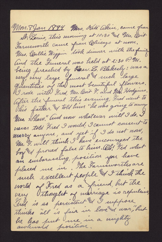Martha Farnsworth diary - Jan 8, 1894