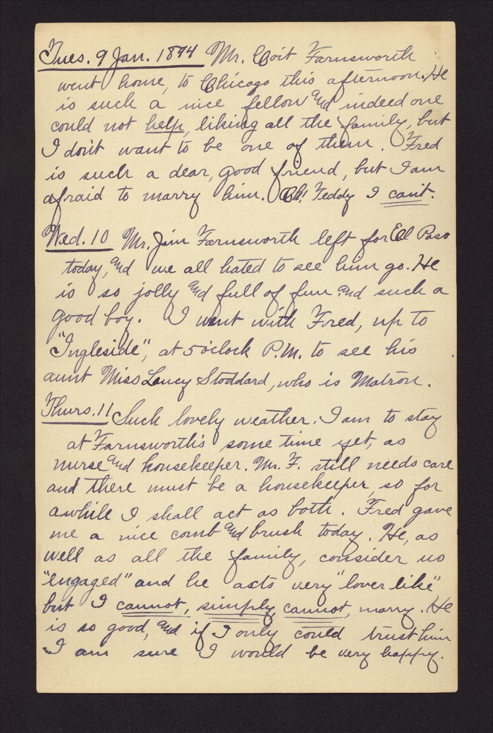 Martha Farnsworth diary - Jan 9, 1894
