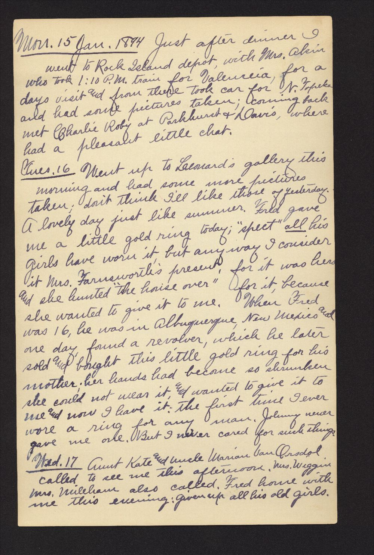 Martha Farnsworth diary - Jan 15, 1894