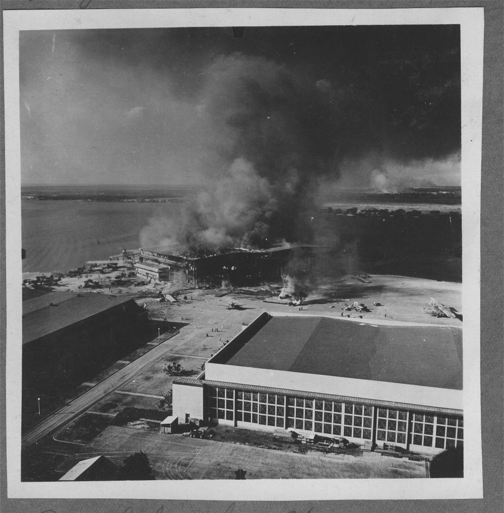 Attack on Pearl Harbor, Hawaii - A hanger burning on Ford Island, Hawaii.