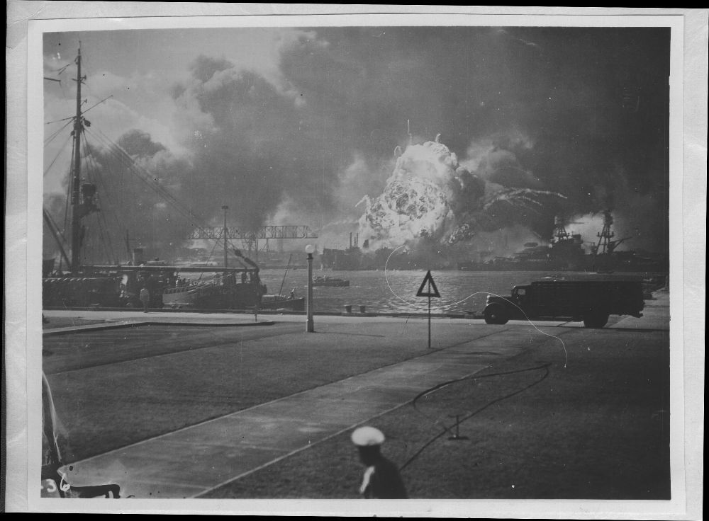 Attack on Pearl Harbor, Hawaii - The USS Shaw and Downs exploding in drydock.
