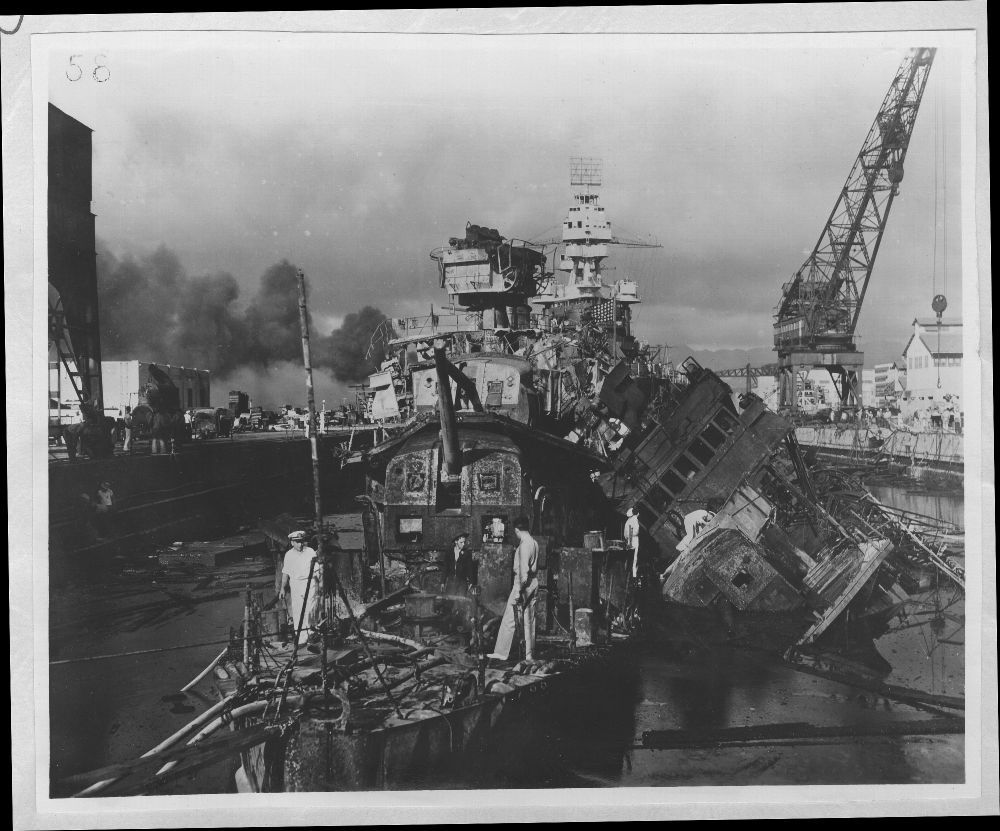 Attack on Pearl Harbor, Hawaii - The USS Downs (left) and USS Cassin (right) after the bombing.