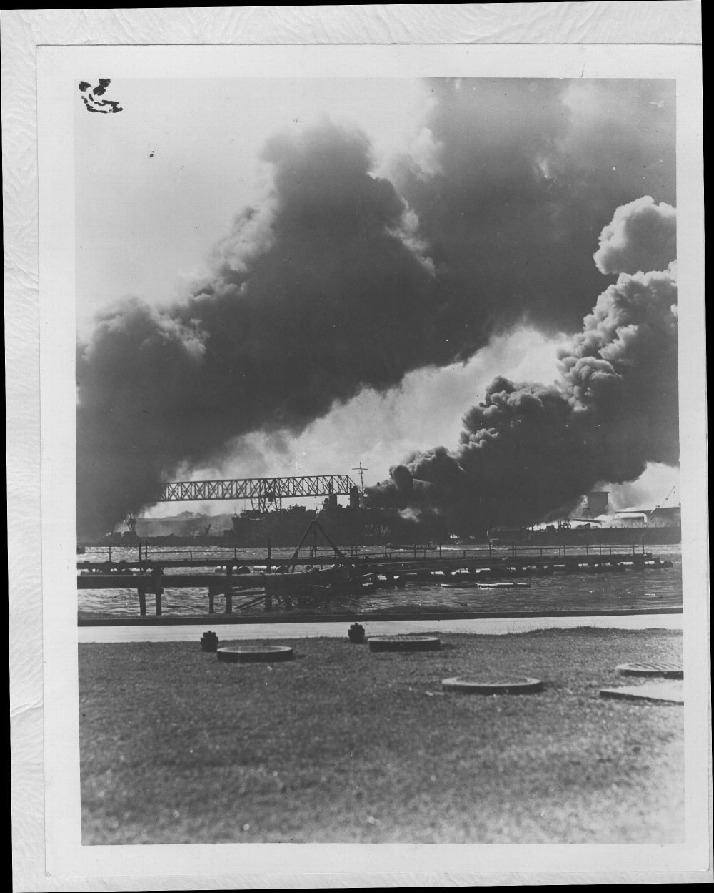 Attack on Pearl Harbor, Hawaii - Destroyers USS Shaw and USS Downs immediately after the bombing.