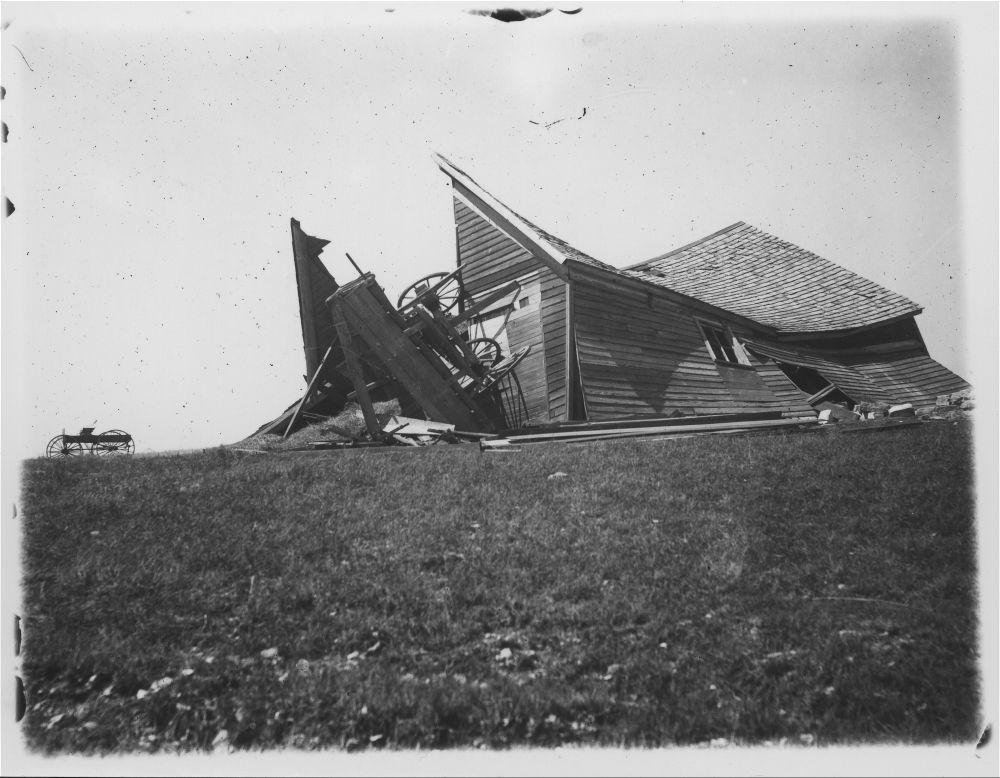 Tornado damage, Russell County, Kansas