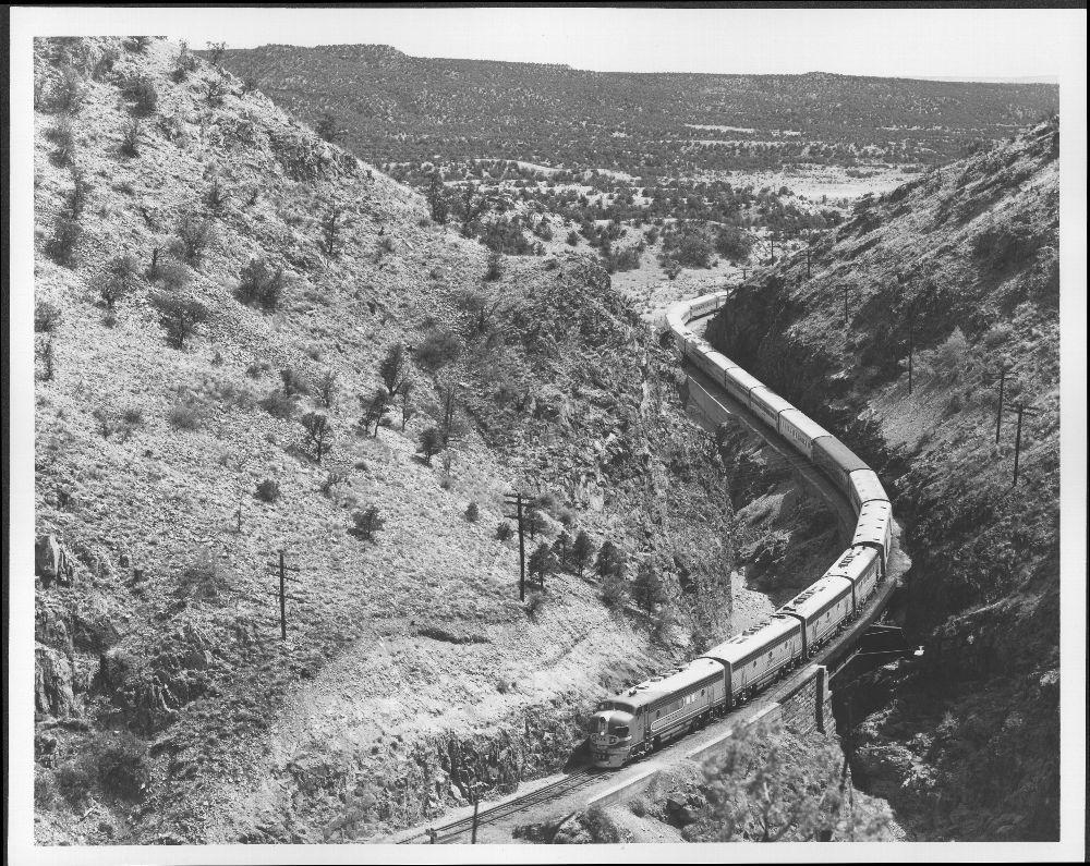 Atchison, Topeka & Santa Fe Railway's 'Super Chief' traveling near Lamy, New Mexico