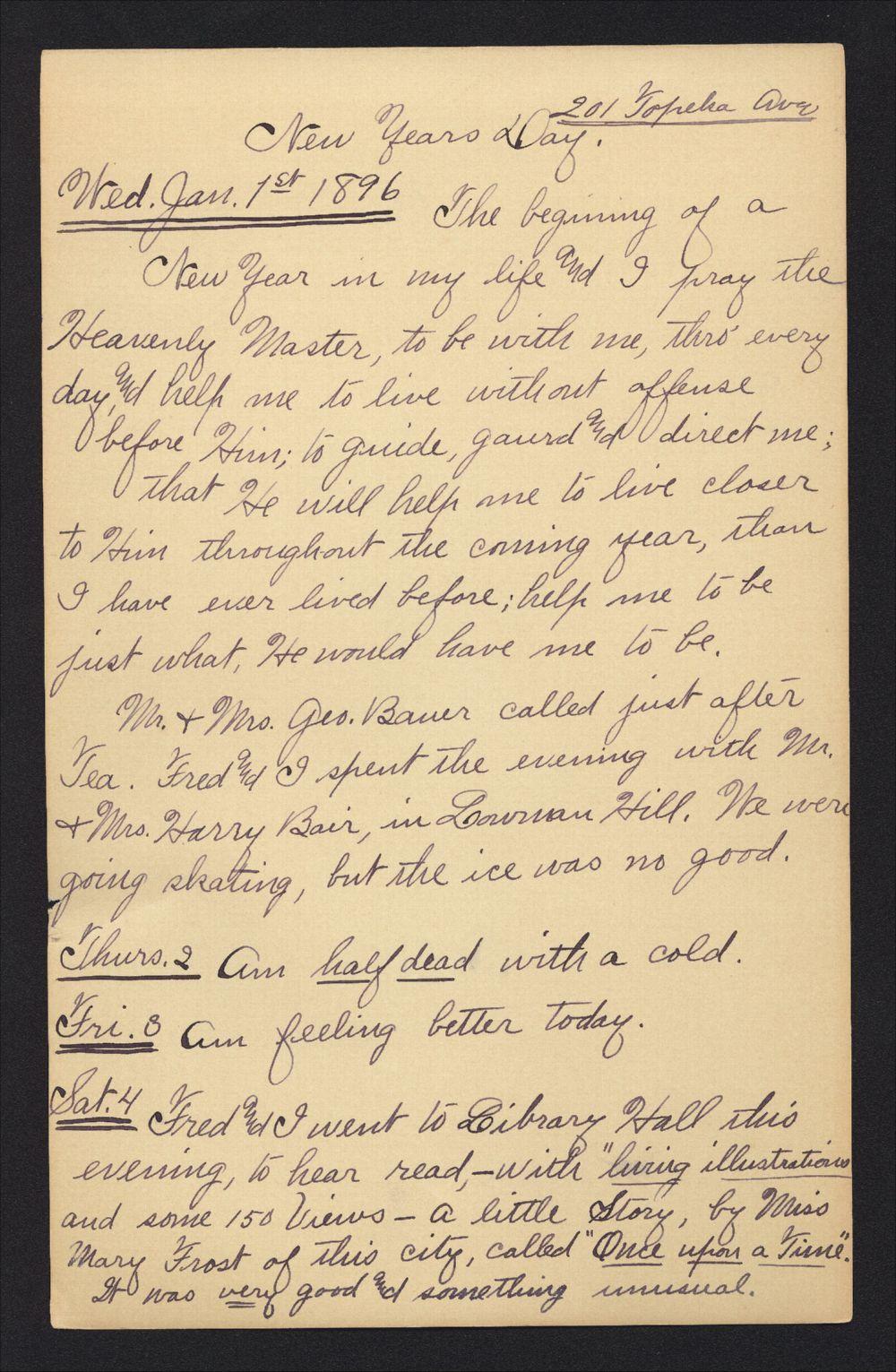 Martha Farnsworth diary - Jan 1, 1896