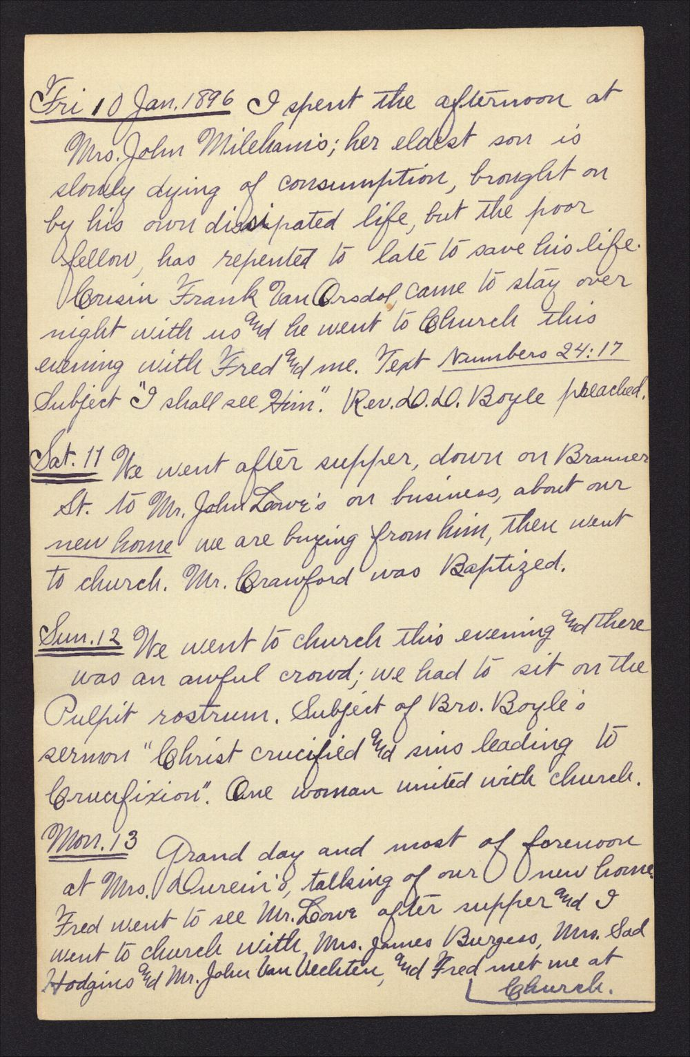 Martha Farnsworth diary - Jan 10, 1896