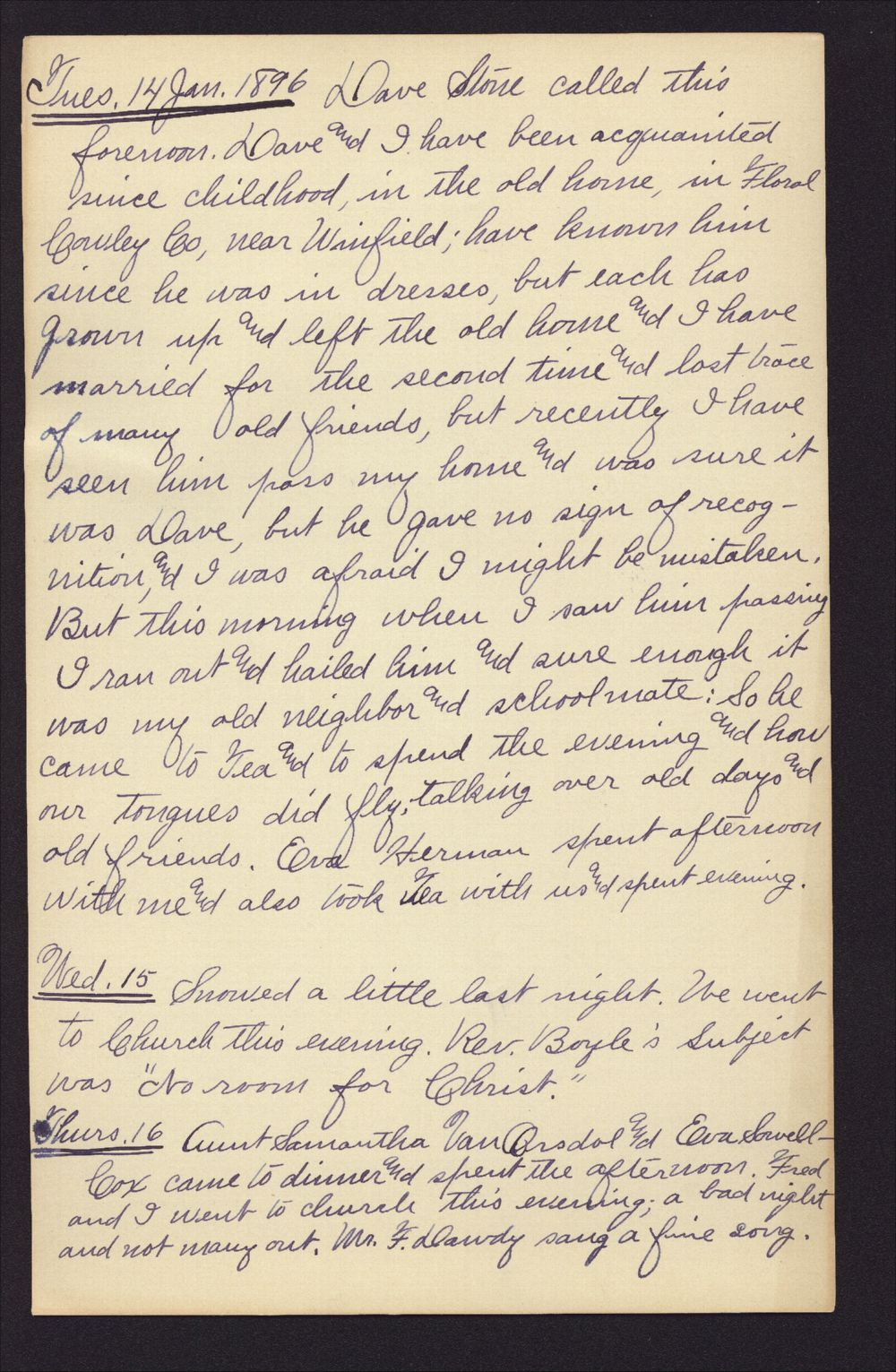 Martha Farnsworth diary - Jan 14, 1896