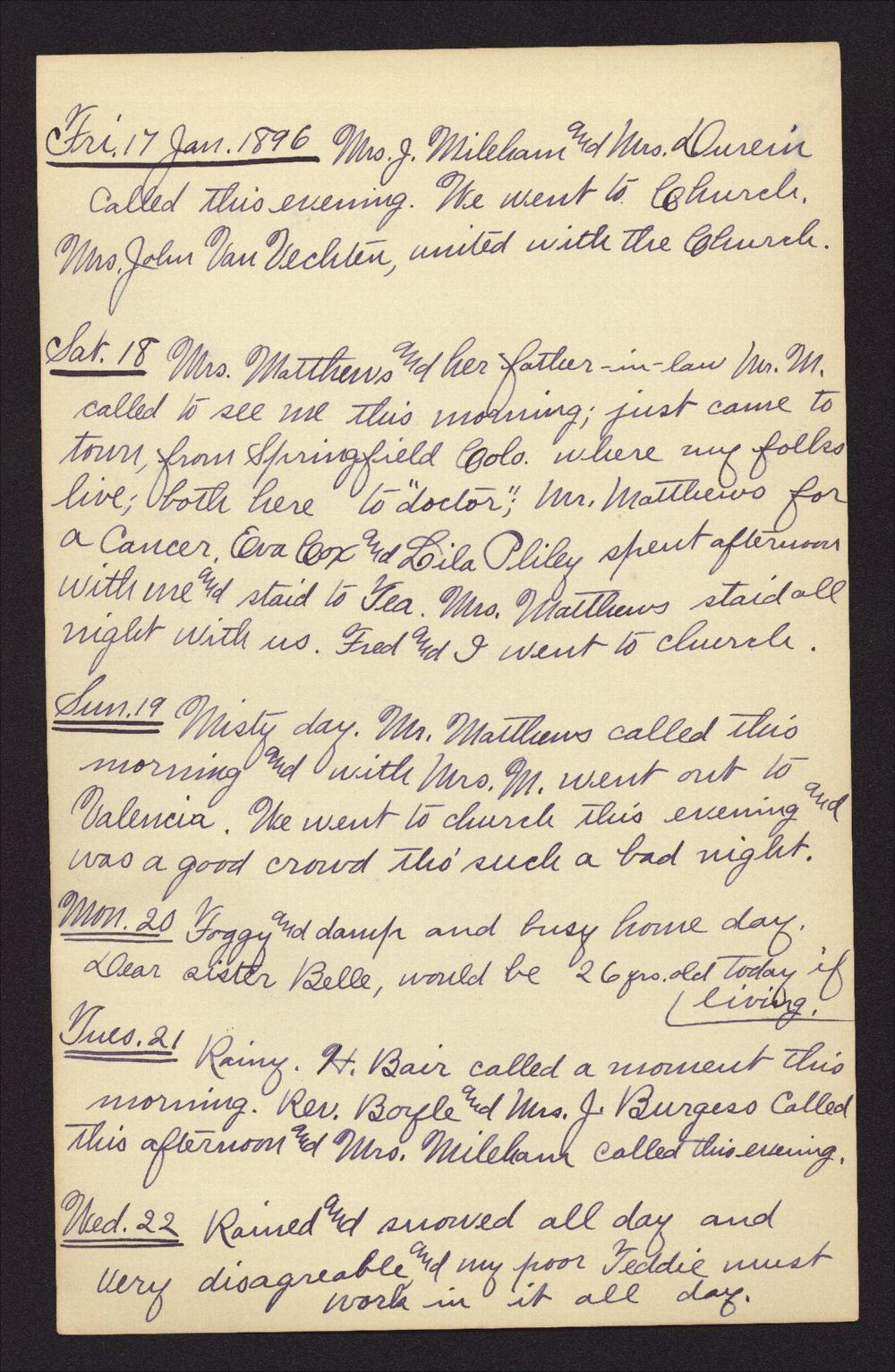 Martha Farnsworth diary - Jan 17, 1896