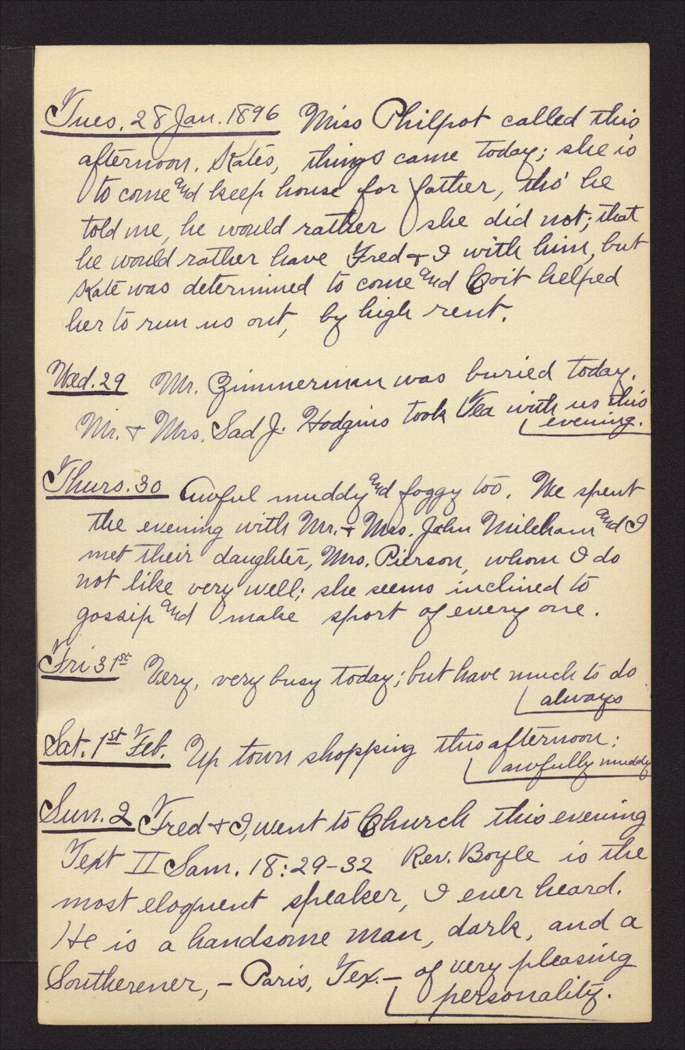 Martha Farnsworth diary - Jan 28, 1896