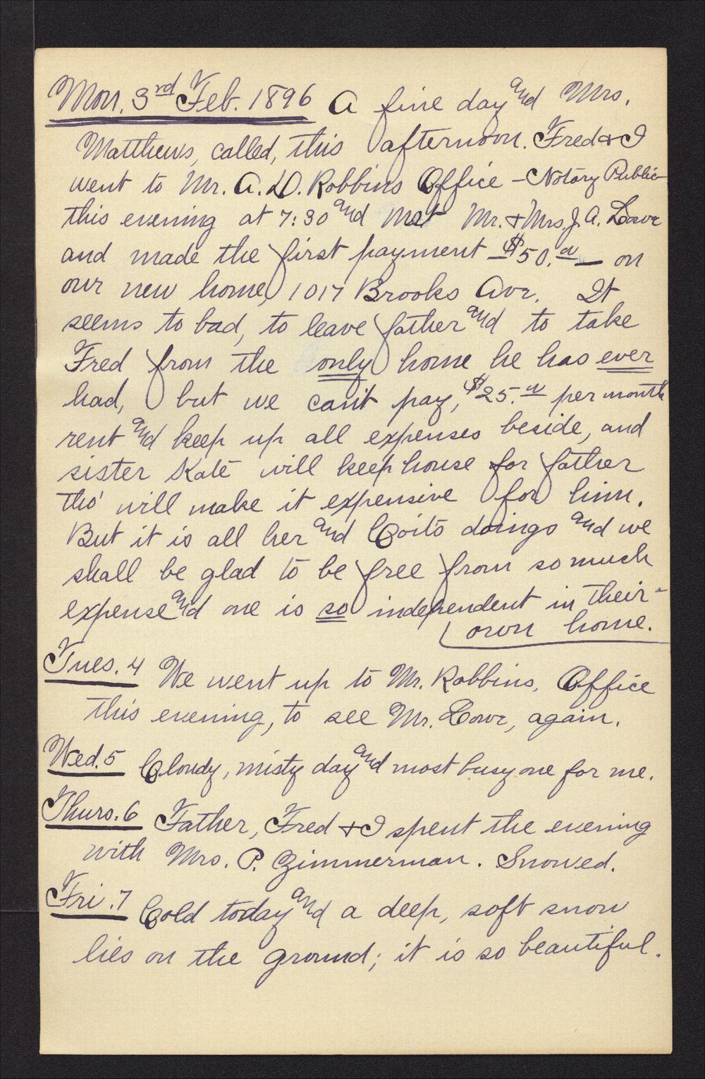 Martha Farnsworth diary - Feb 3, 1896