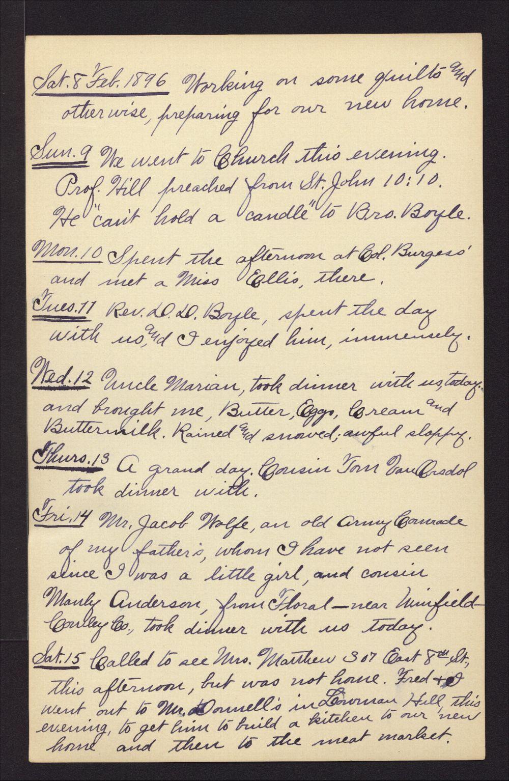 Martha Farnsworth diary - Feb 8, 1896